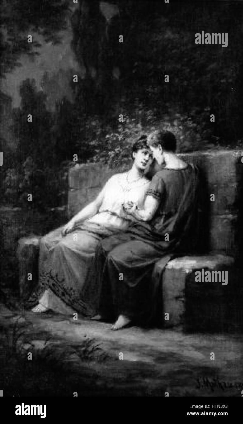 Josef Mathauser 1846-1917 - Sedici milenci - Stock Image