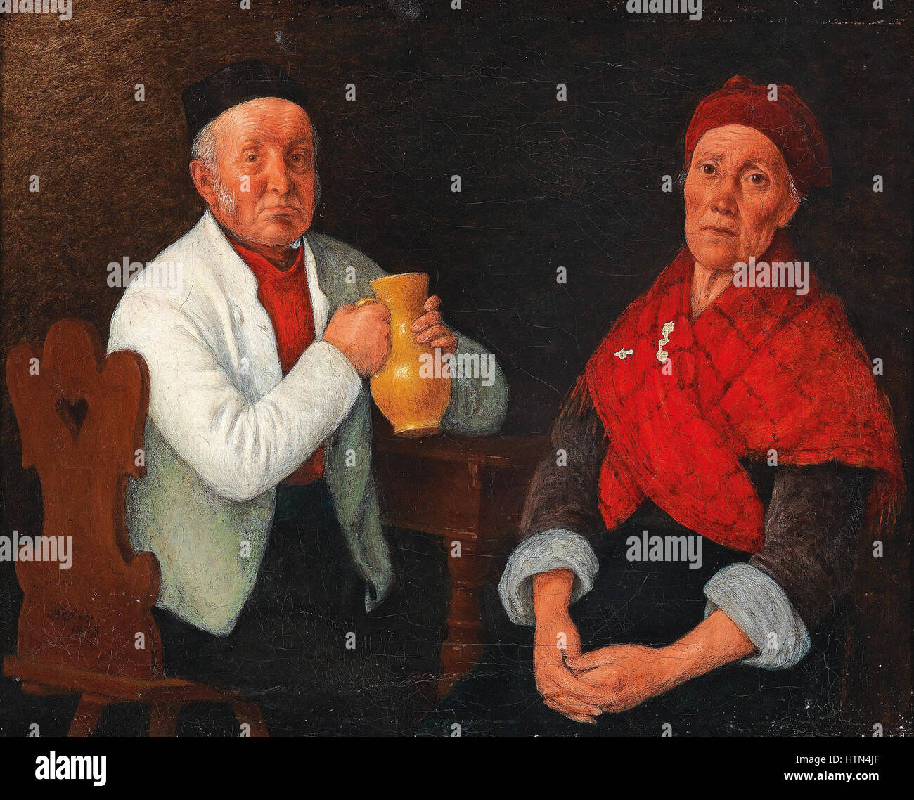 Michael Neder Sitzendes Paar 1858 - Stock Image