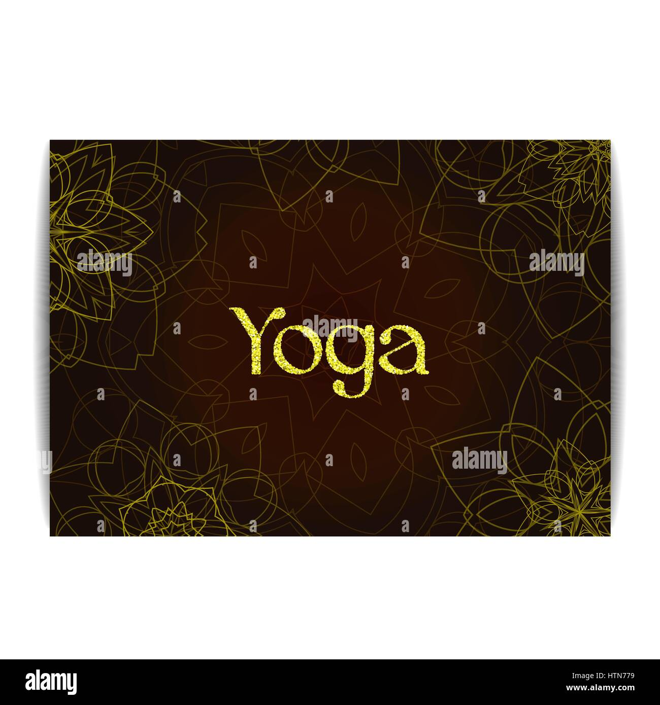 Yoga Banner With Floral Mandalas Indian Traditional Ornament Golden Text Design For Or Meditation Studio Flyer Card Invitation Realistic G
