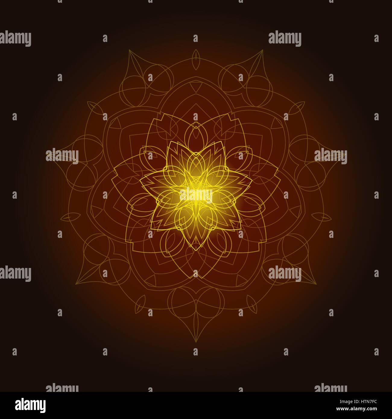 Background with shiny floral mandala - Stock Image