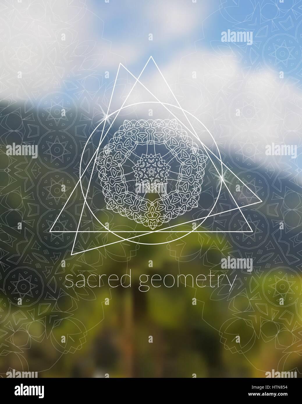 Boho sacred geometry mandala on tropic background  Stock Vector