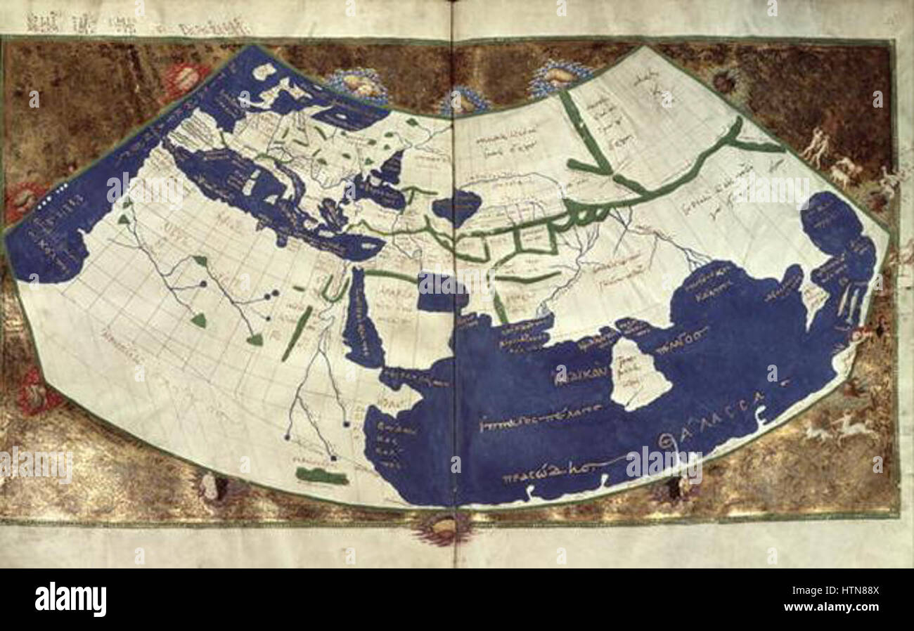 Greek World Map After Ptolemy S 1st Projection Stock Photo
