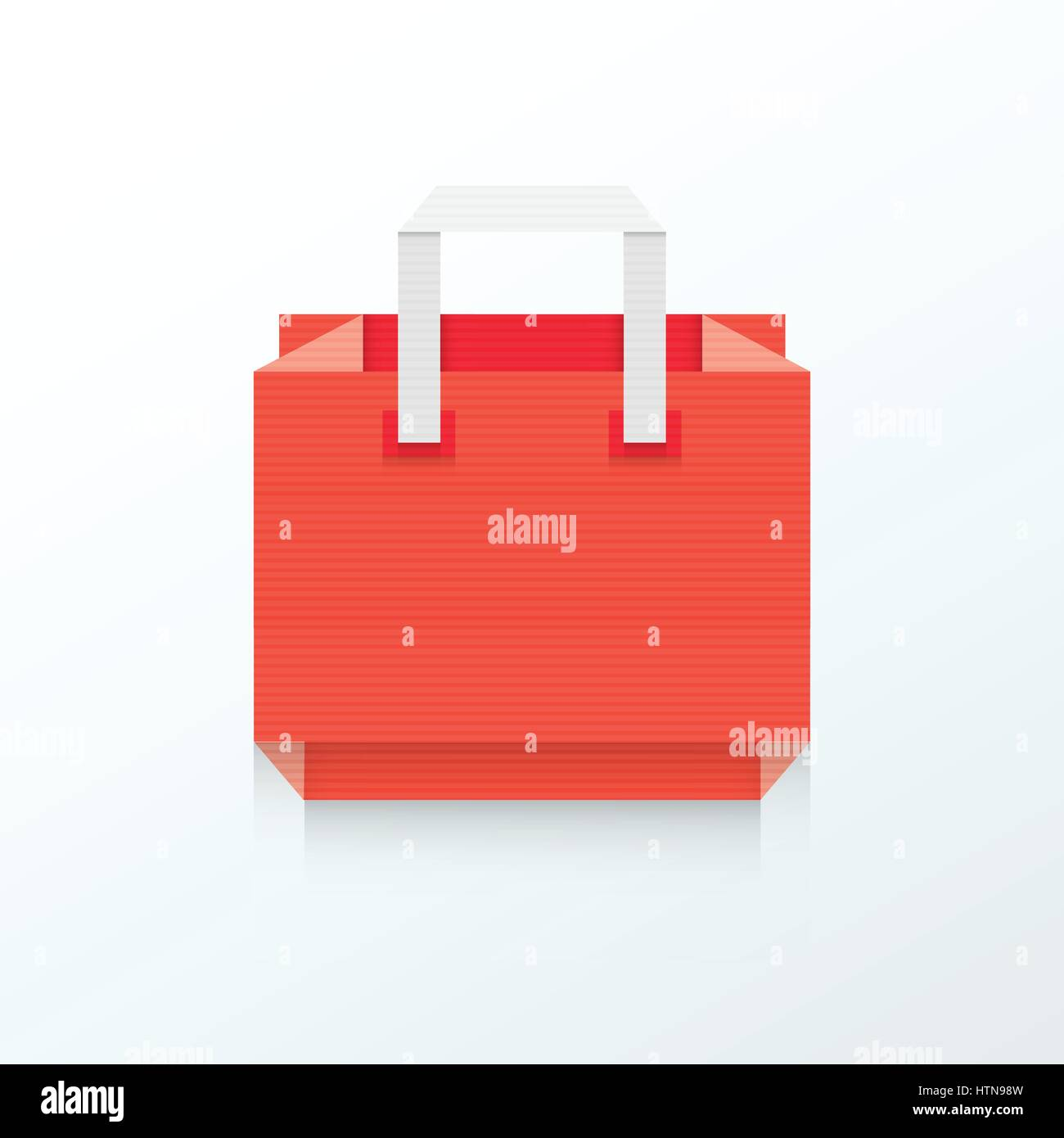 Paper Shopping Bag Origami Icon Red Color Stock Vector Art