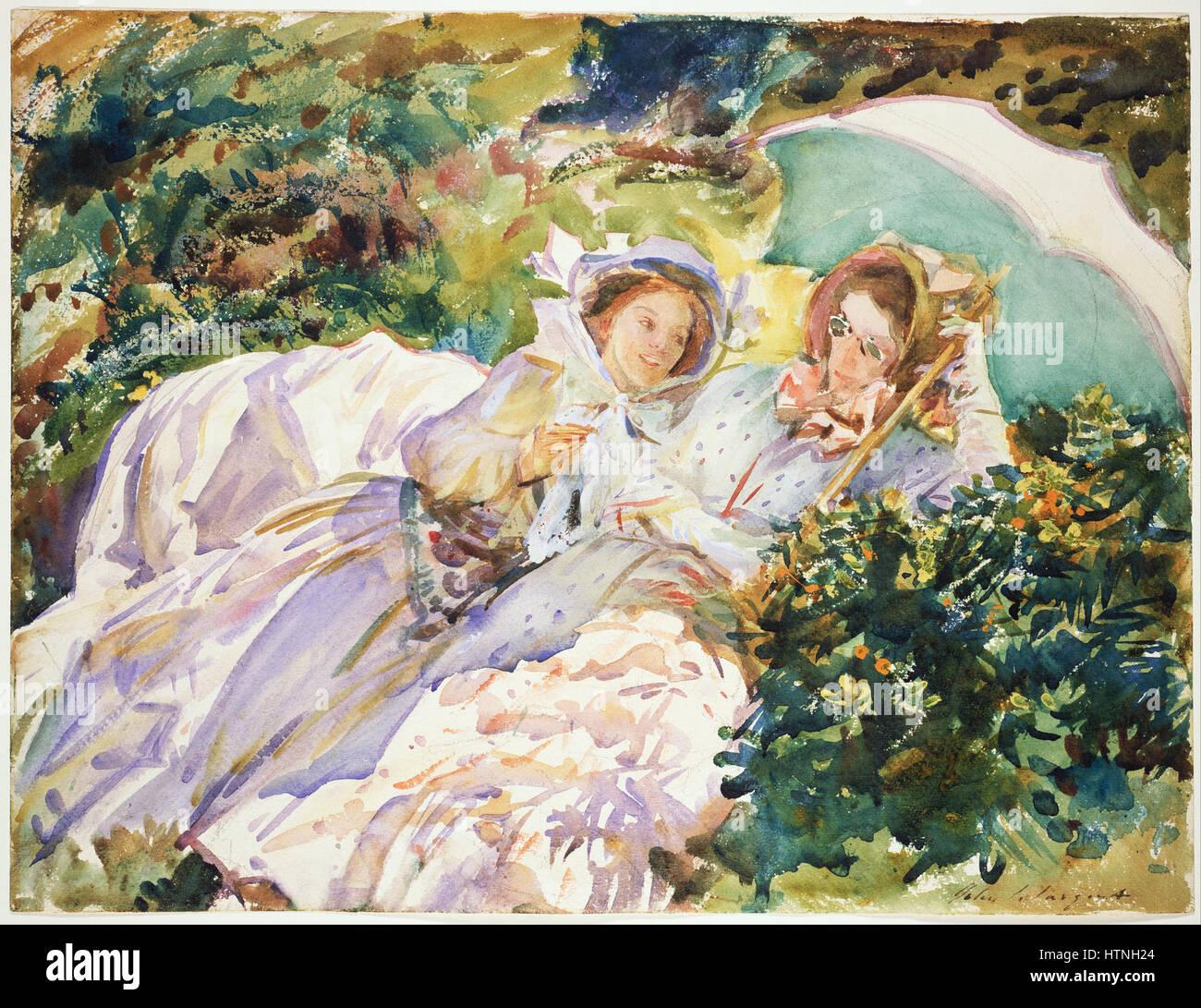 John Singer Sargent - Simplon Pass- The Tease - Google Art Project Stock Photo