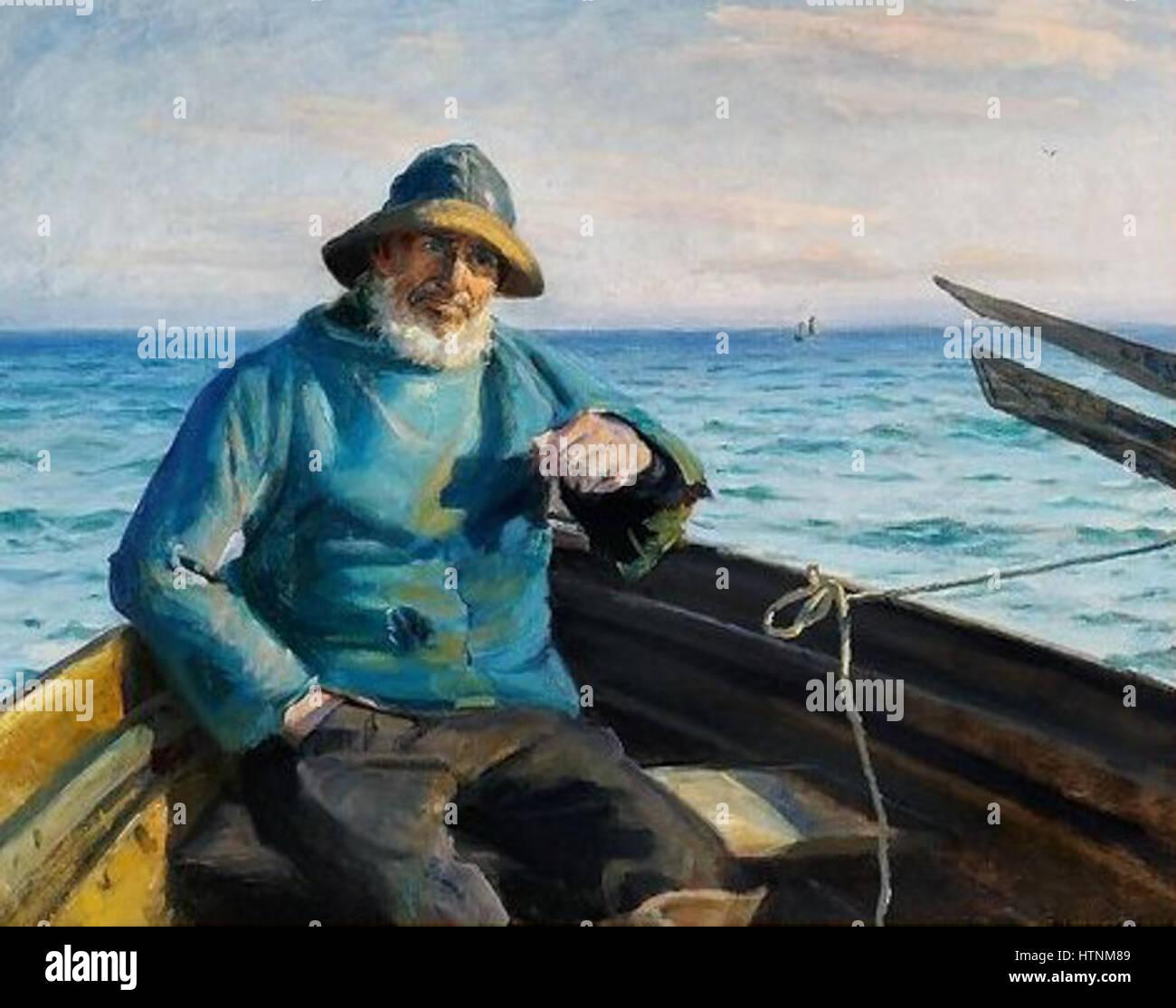 Michael Ancher - En Skagensfisker siddende i en jolle - 1864-1928 Stock Photo