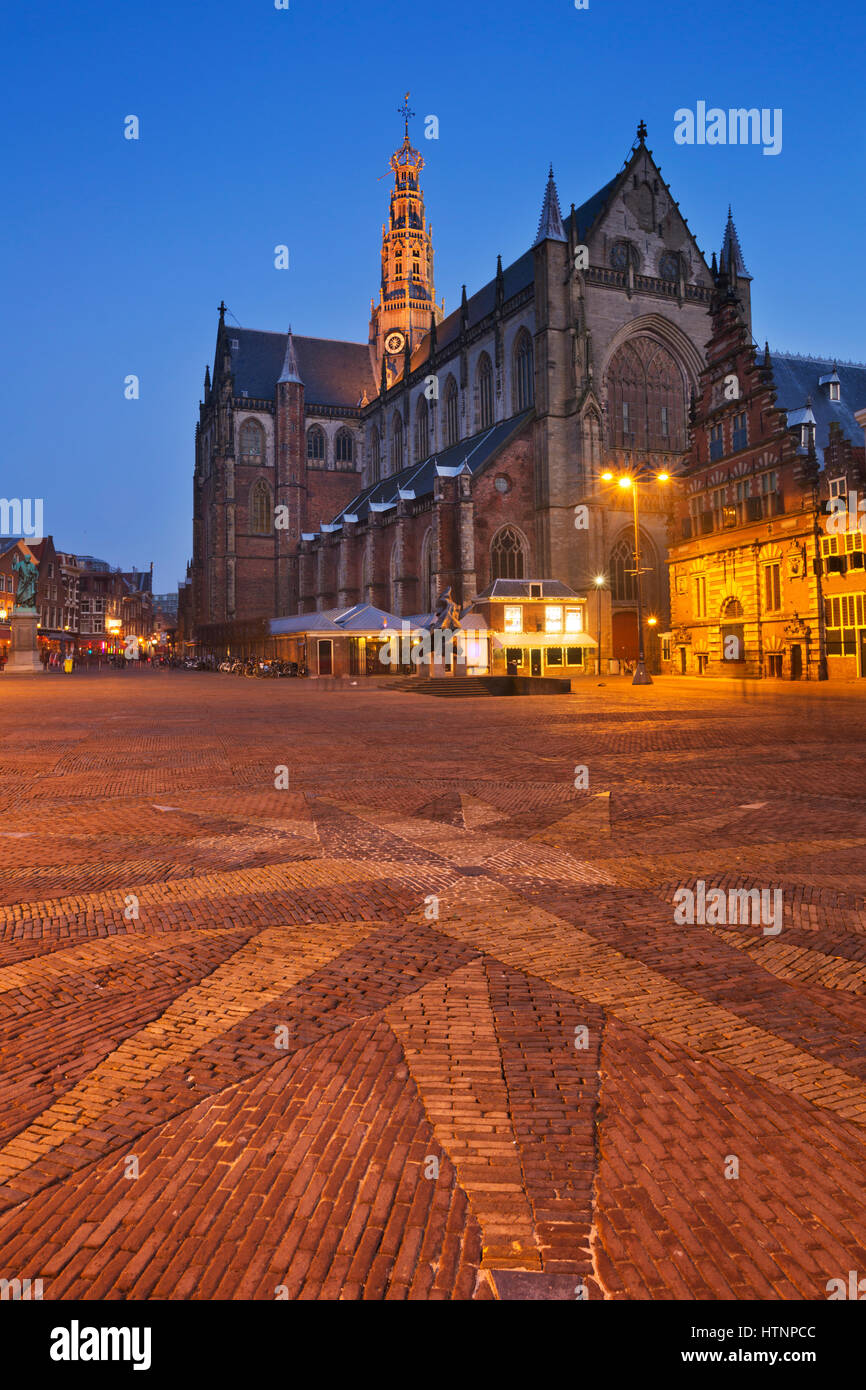 The Grote Markt square and the St. Bavo Church in Haarlem at night. Stock Photo
