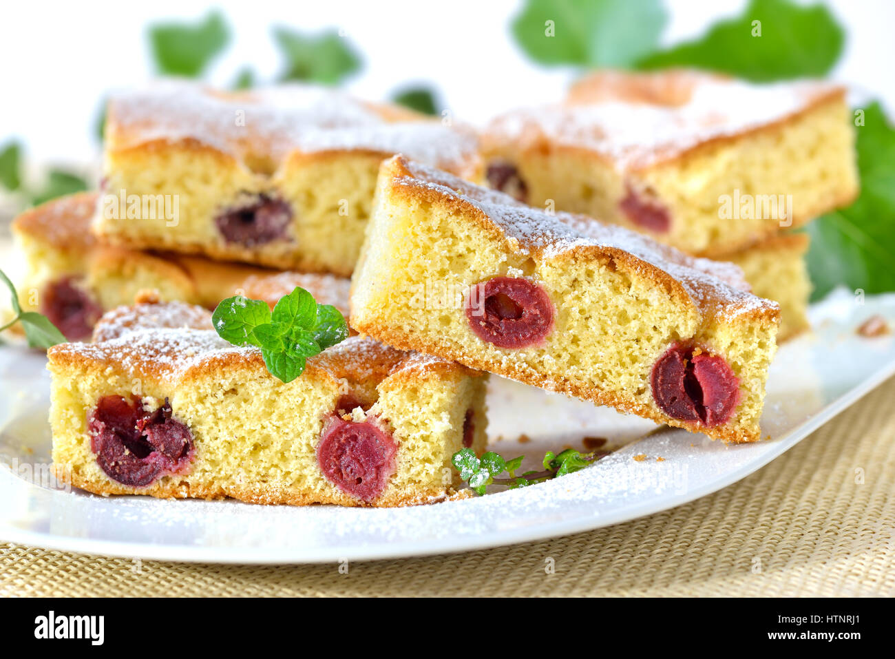 Delicious cuts of cherry cake with icing sugar and mint leaves served on a white plate - Stock Image