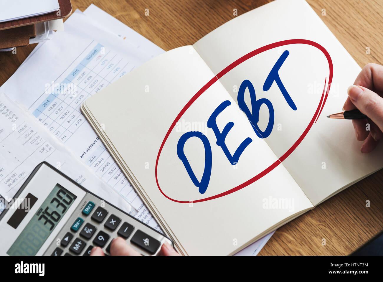 Debt Obligation Banking Finance Loan Money Concept - Stock Image