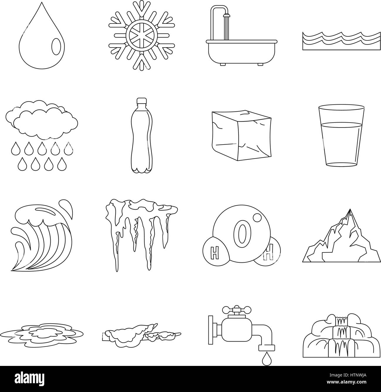 Water icons set, flat style Stock Vector