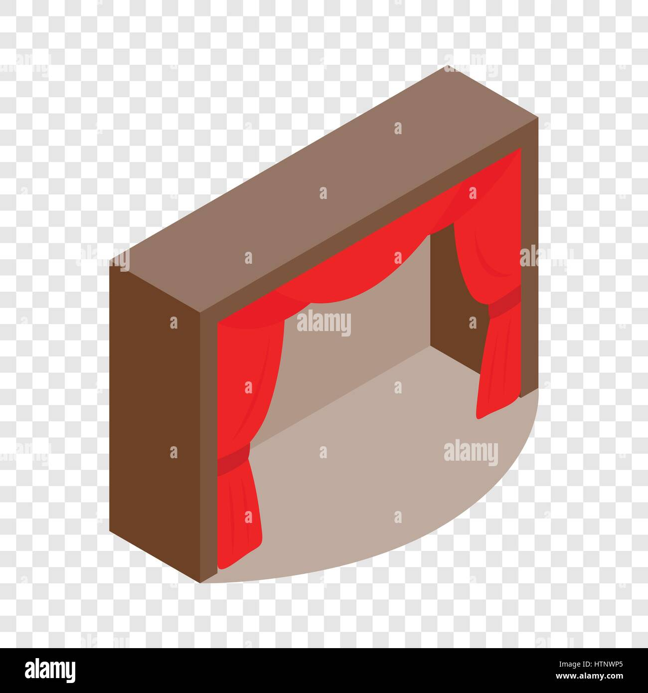 Theater stage with a red curtain isometric icon - Stock Vector