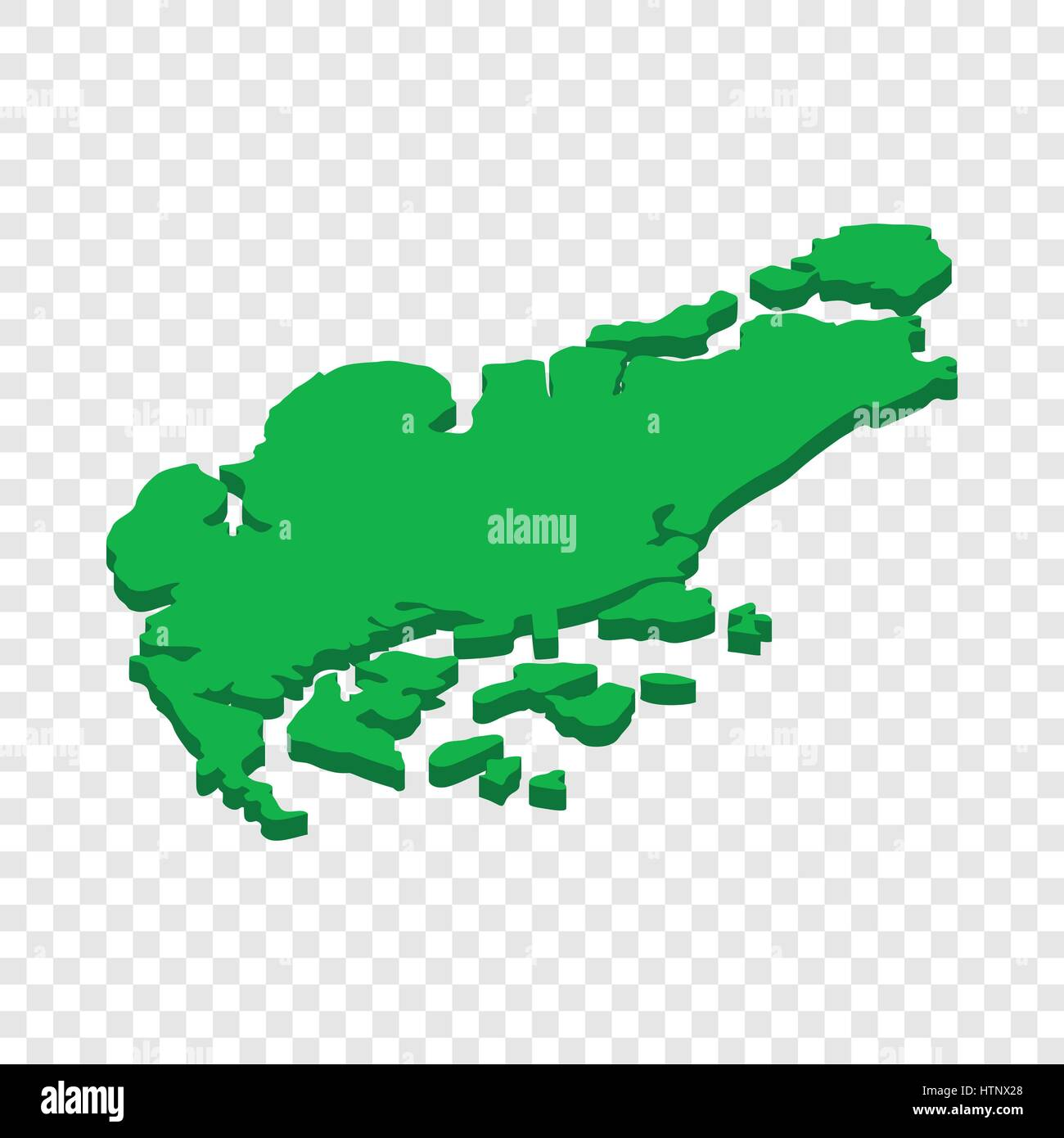 Map of Singapore isometric icon Stock Vector
