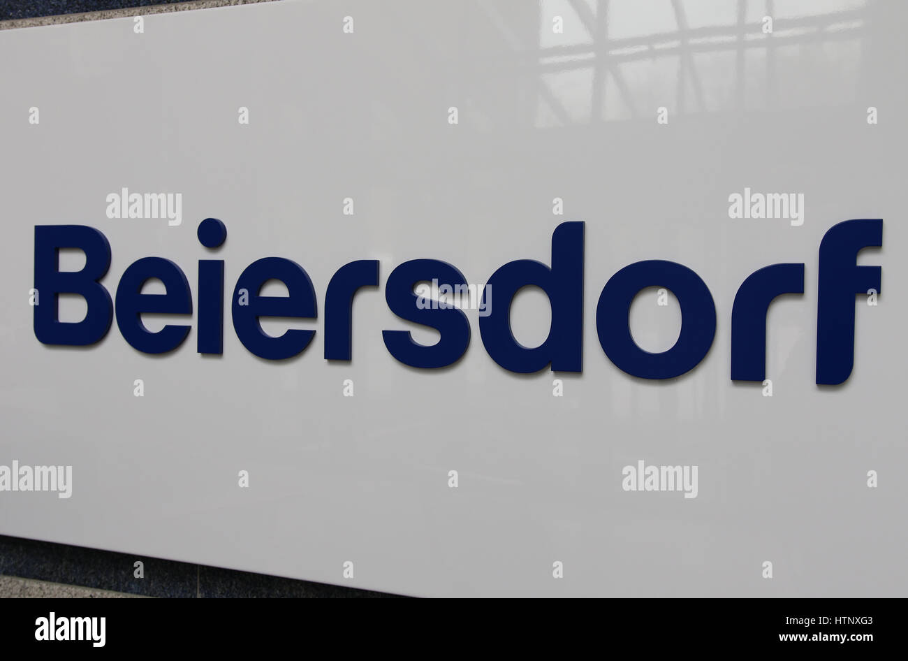 The lettering 'Beiersdorf', photographed at the balance press conference of the Beiersdorf AG in Hamburg, - Stock Image