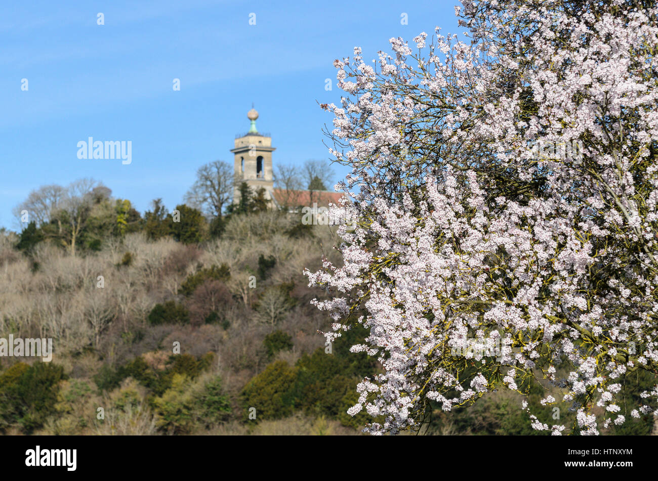 West Wycombe, UK. 13th March 2017. UK Weather. A warmer than average temperature was enjoyed in the Chiltern Hills - Stock Image