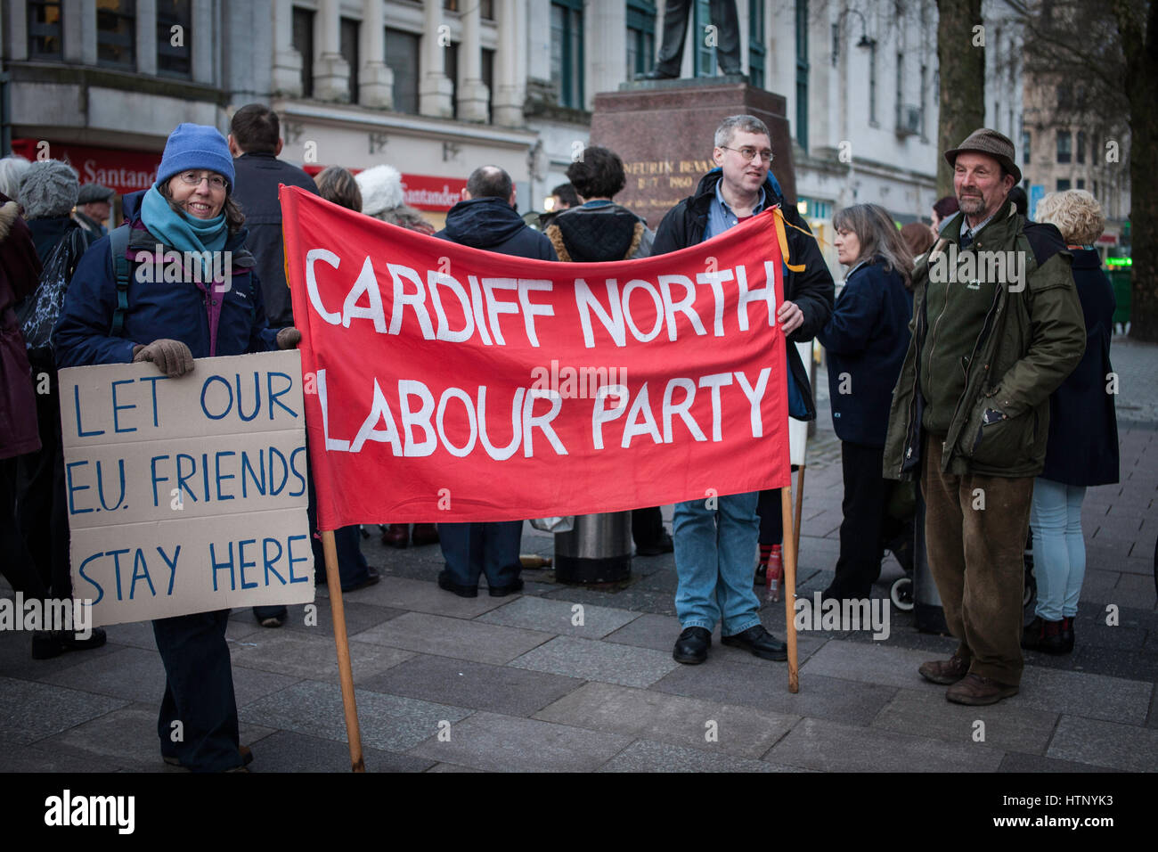 Cardiff, UK. 13th March, 2017. An emergency protest was held to defend EU Citizens' Right to Remain in the UK - Stock Image
