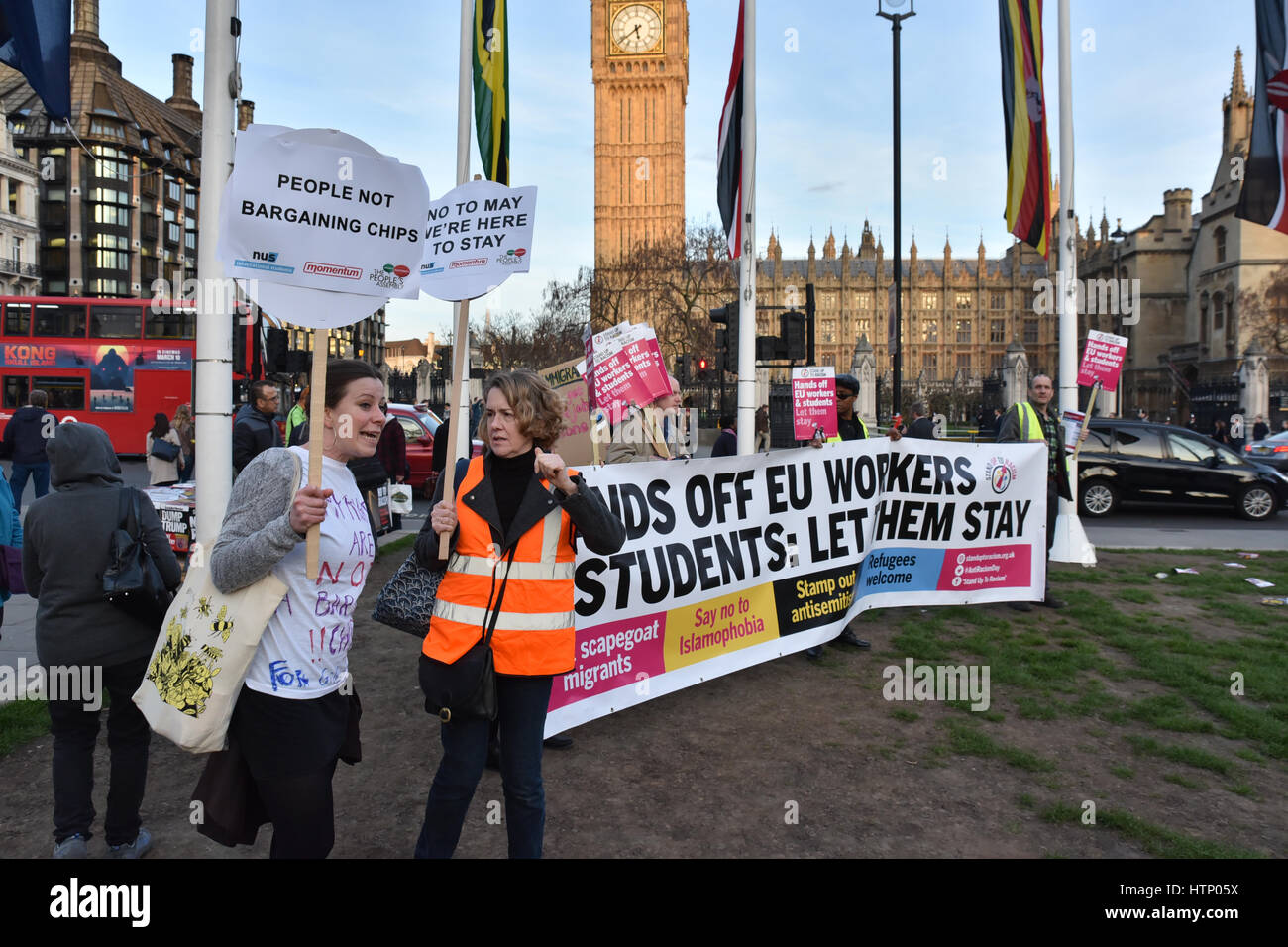 Parliament Square, London, UK. 13th March 2017. Protesters in Parliament Square stage an emergency 'Defend EU - Stock Image