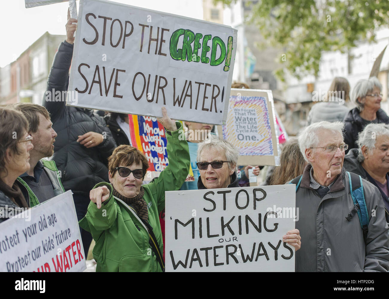Christchurch, New Zealand. 14th Mar, 2017. More than 100 people protest outside Environmental Canterbury, part of - Stock Image