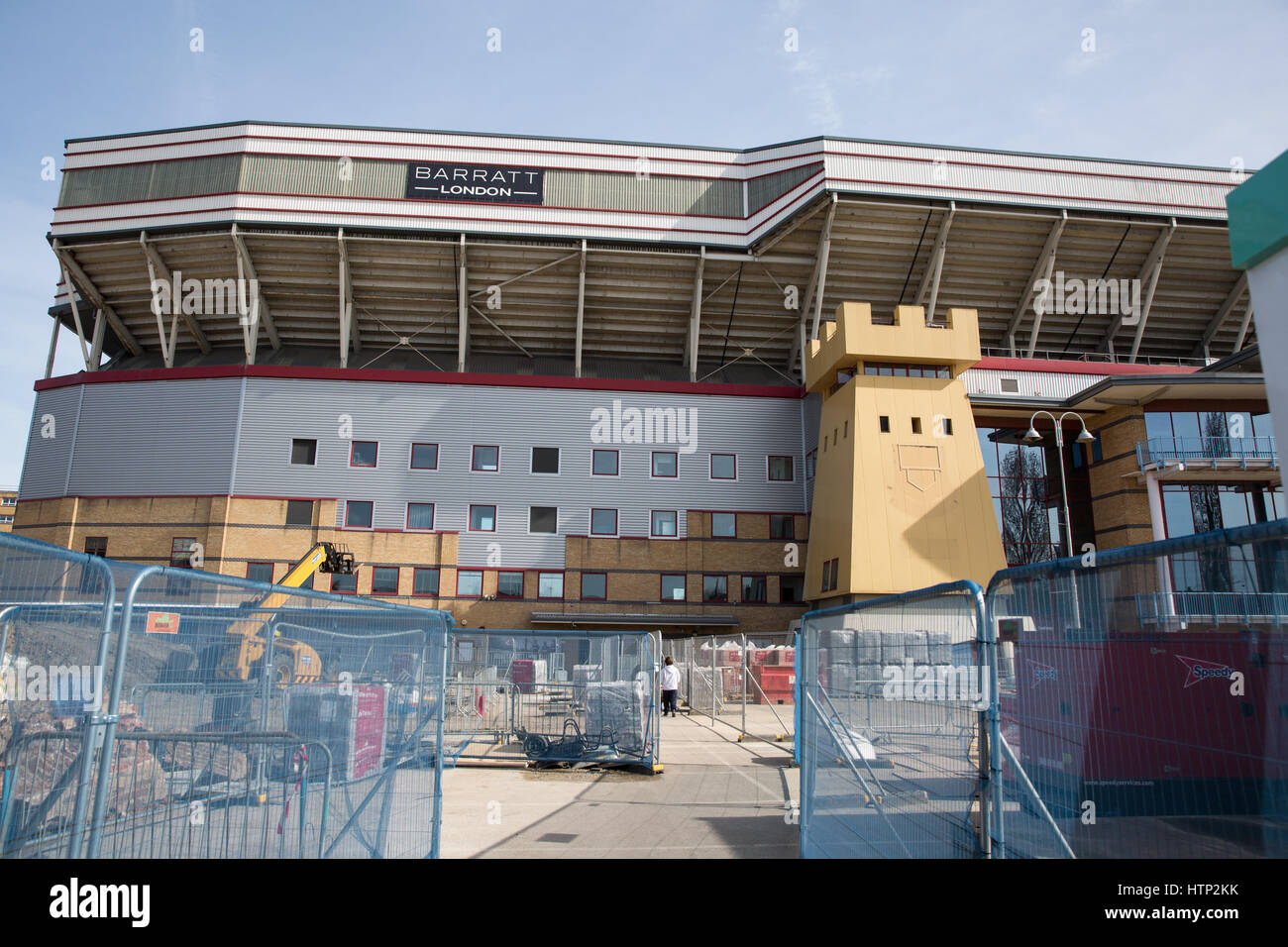 London, UK. 13th March, 2017. Demolition continues at the Boleyn Ground, West Ham United's former stadium in - Stock Image