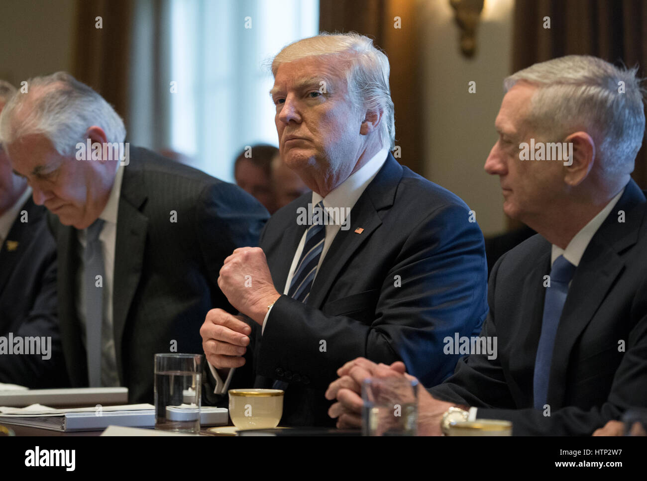 Washington DC, USA 13th March, 2017 US President Donald J Trump (C) holds a meeting with members of his Cabinet Stock Photo