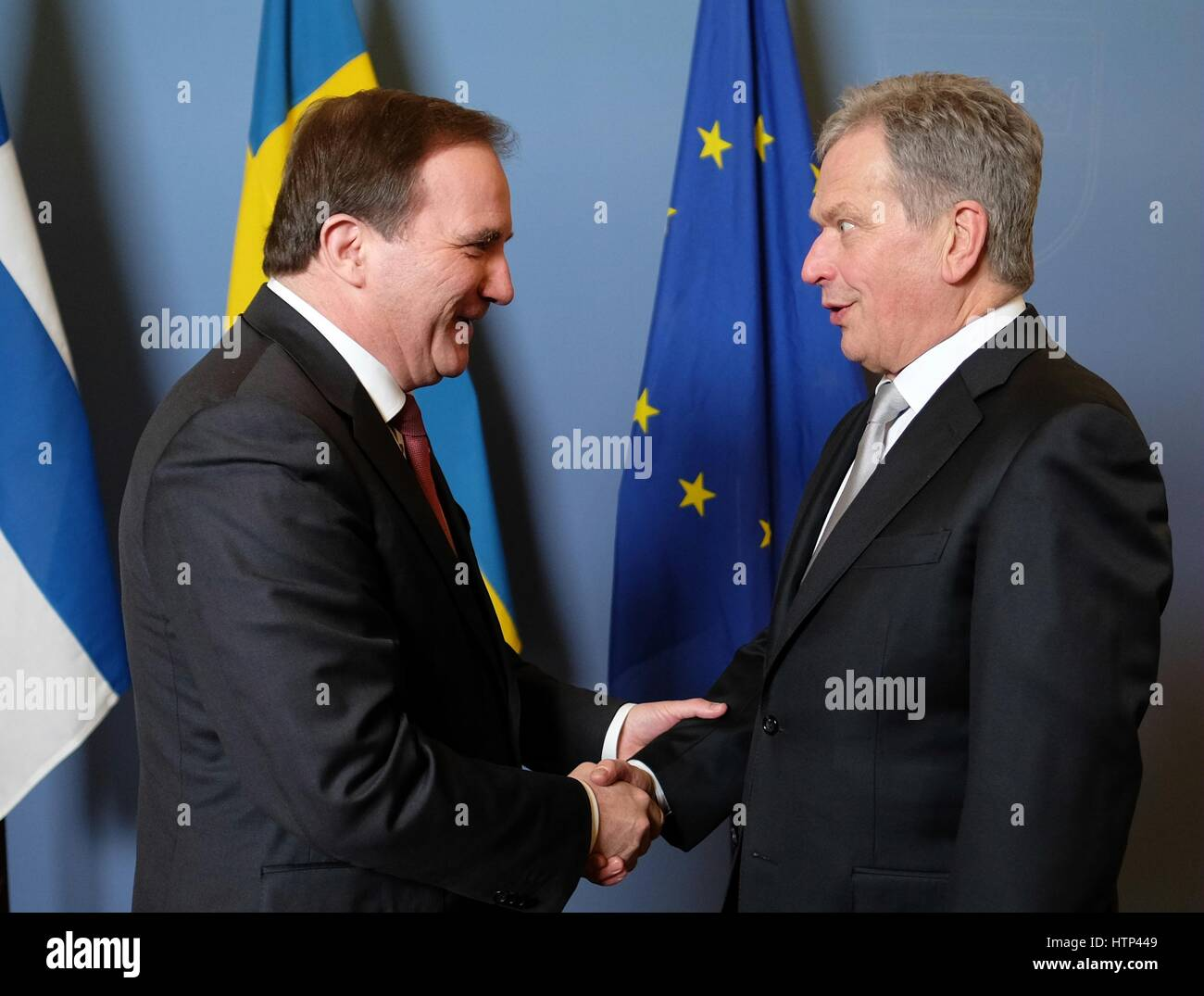 Stockholm. 13th Mar, 2017. Swedish Prime Minister Stefan Lofven (L) meets with Finland's President Sauli Niinisto - Stock Image