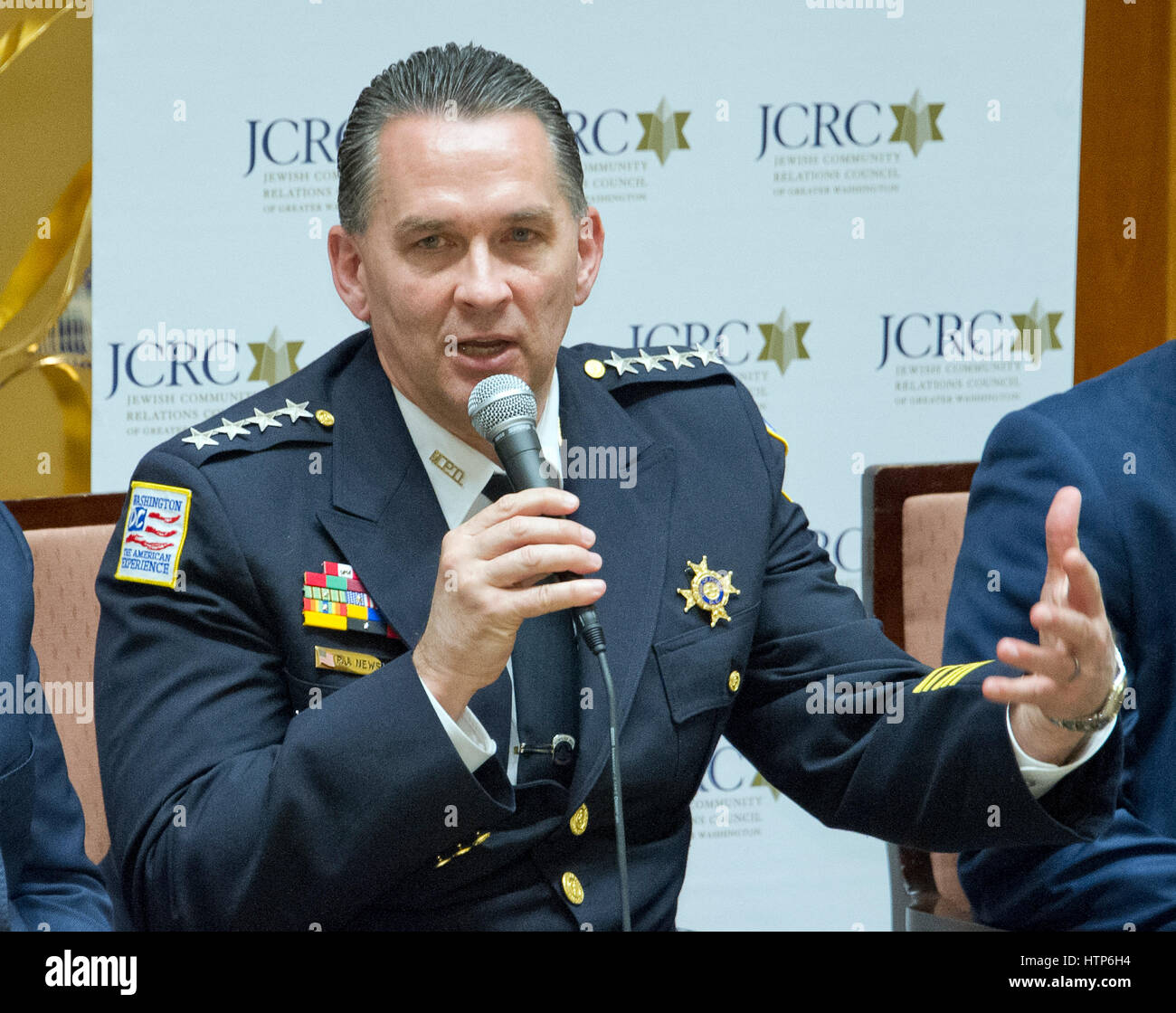 Acting D.C. Police Chief Peter Newsham speaks at the Jewish Community Relations Council of Greater Washington's - Stock Image