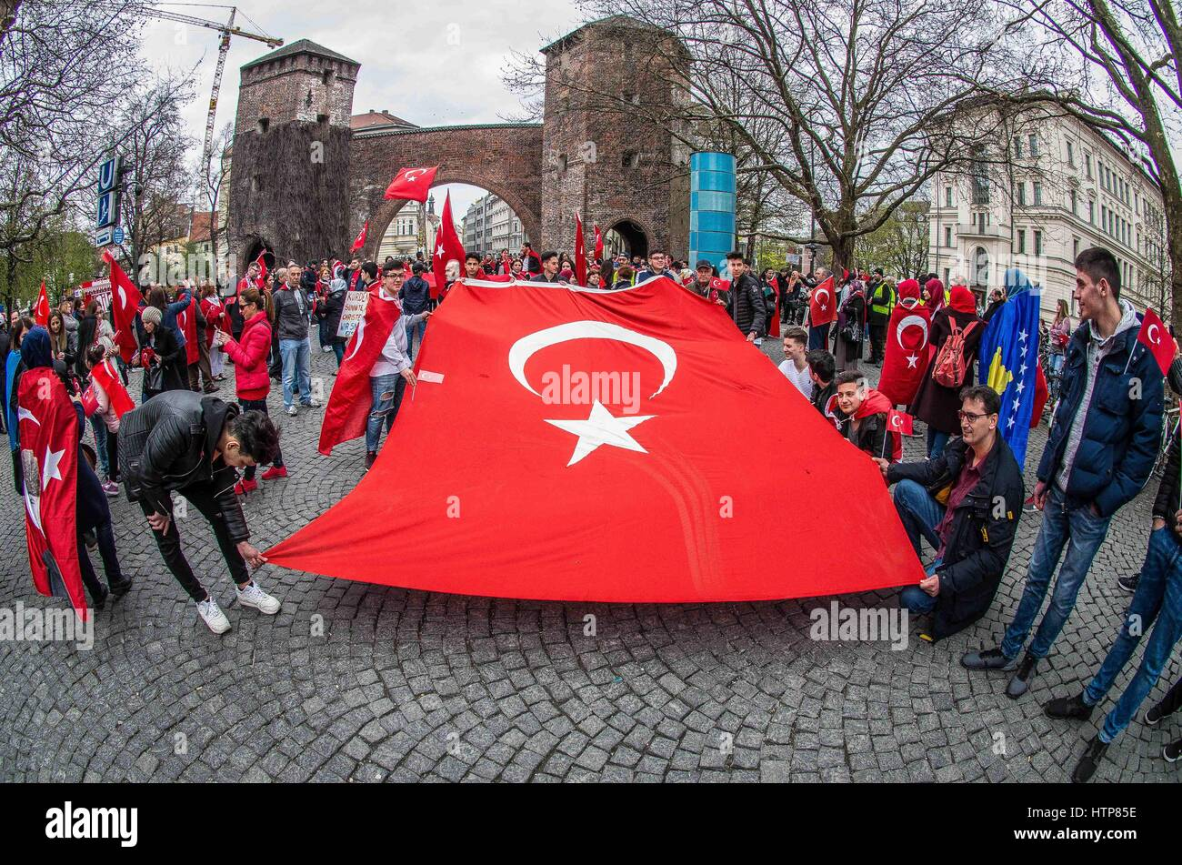 April 10, 2016 - Munich, Bavaria, germany - April 2016, Munich, Germany- Members of the ultra-nationalist Turkish - Stock Image