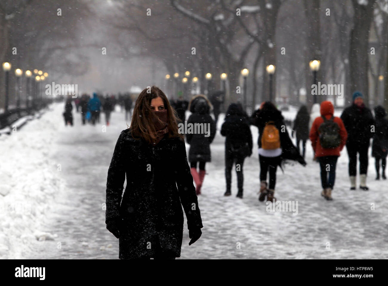 New York, United States. 14th Mar, 2017. People walk through New York City's Central Park during a snowstorm - Stock Image