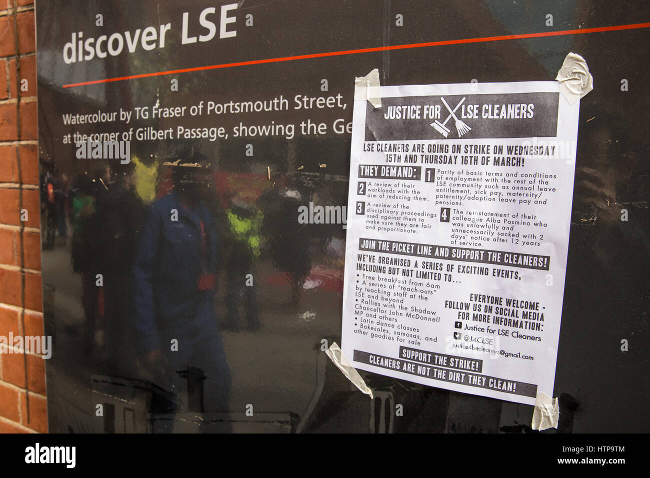 London, UK. 16th Mar, 2017. A poster for the LSE Cleaners' Strike outside the London School of Economics. Cleaners - Stock Image