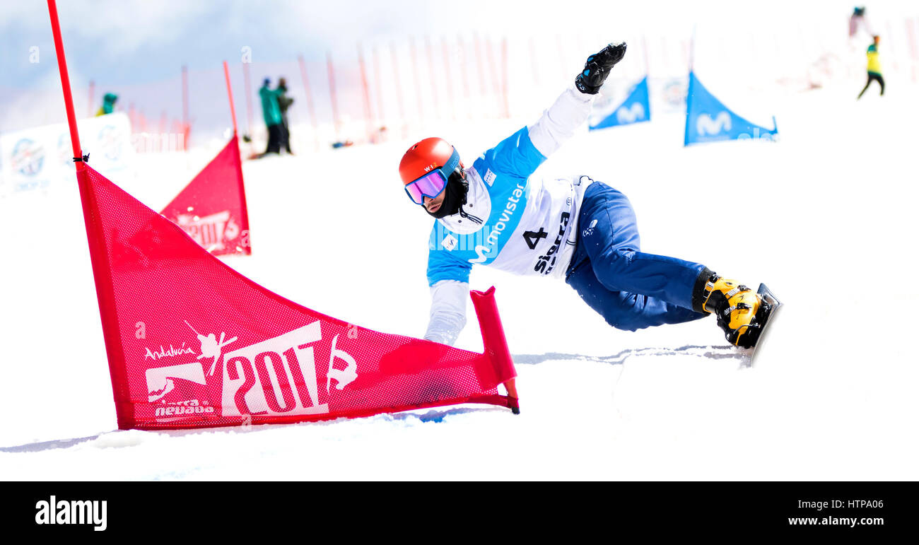Sierra Nevada, Spain. 16th March, 2017. Vic Wild (Russia) during the Quarterfinals of Men's Parallel Giant Slalom Stock Photo
