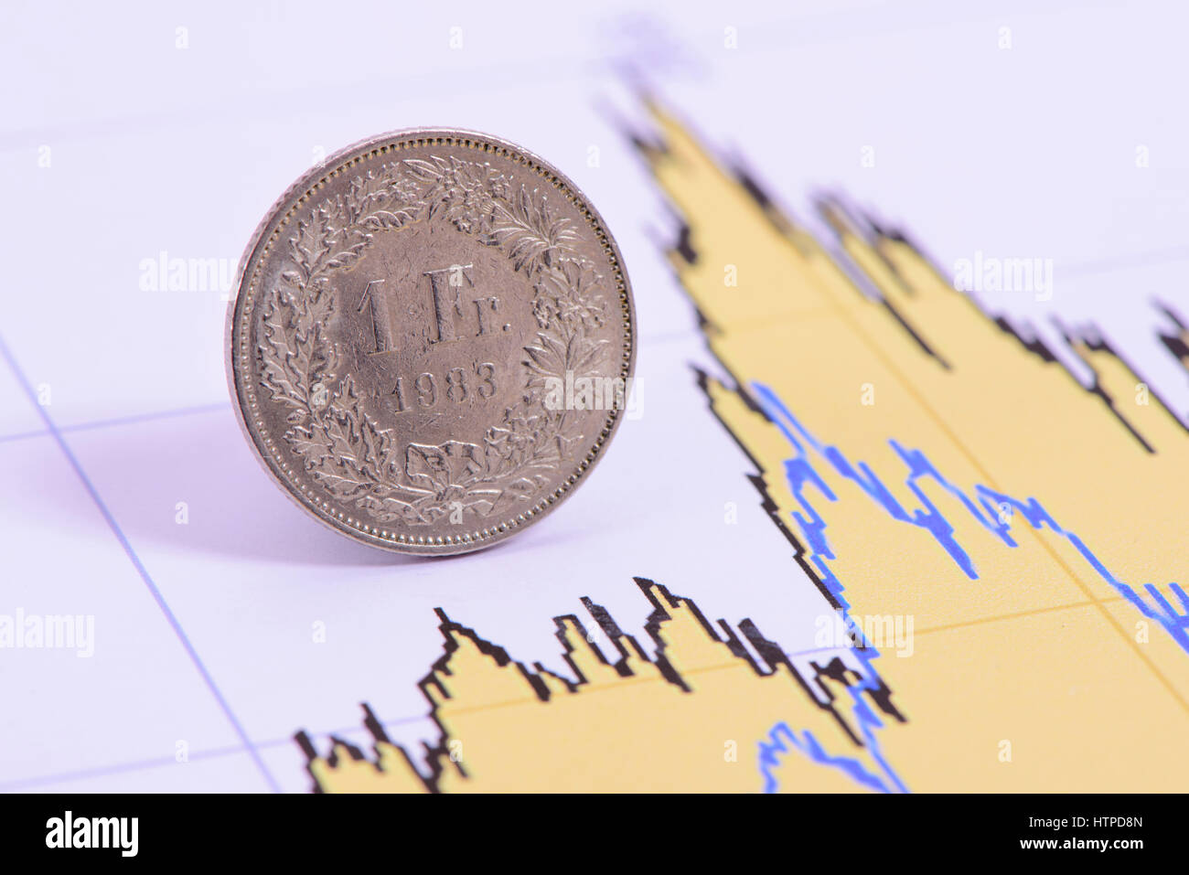Franc coin of Swiss currency laying in chart of exchange market - Stock Image