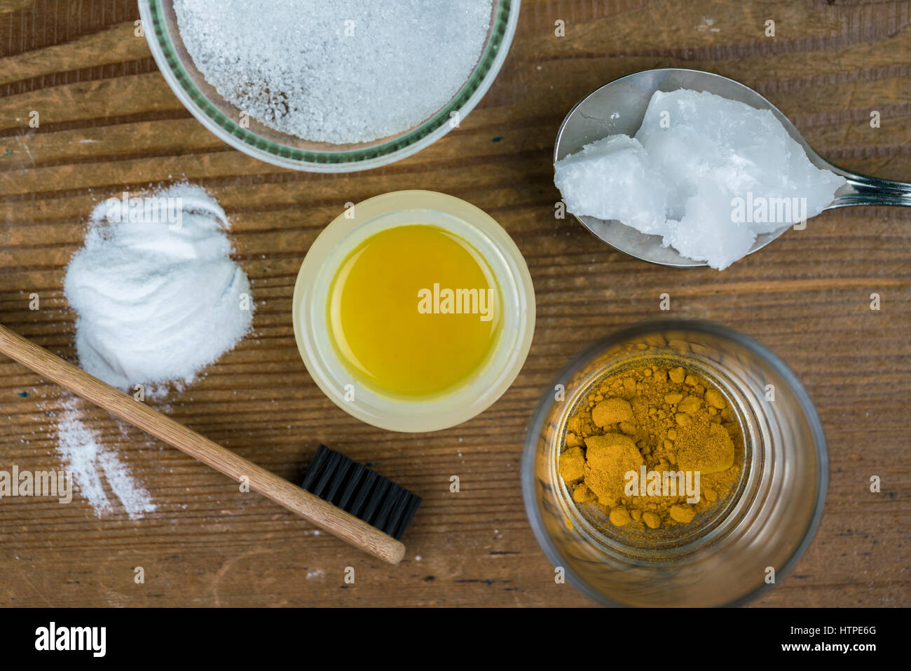 Diy Toothpaste With Ingredients Coconut Oil Turmeric Baking