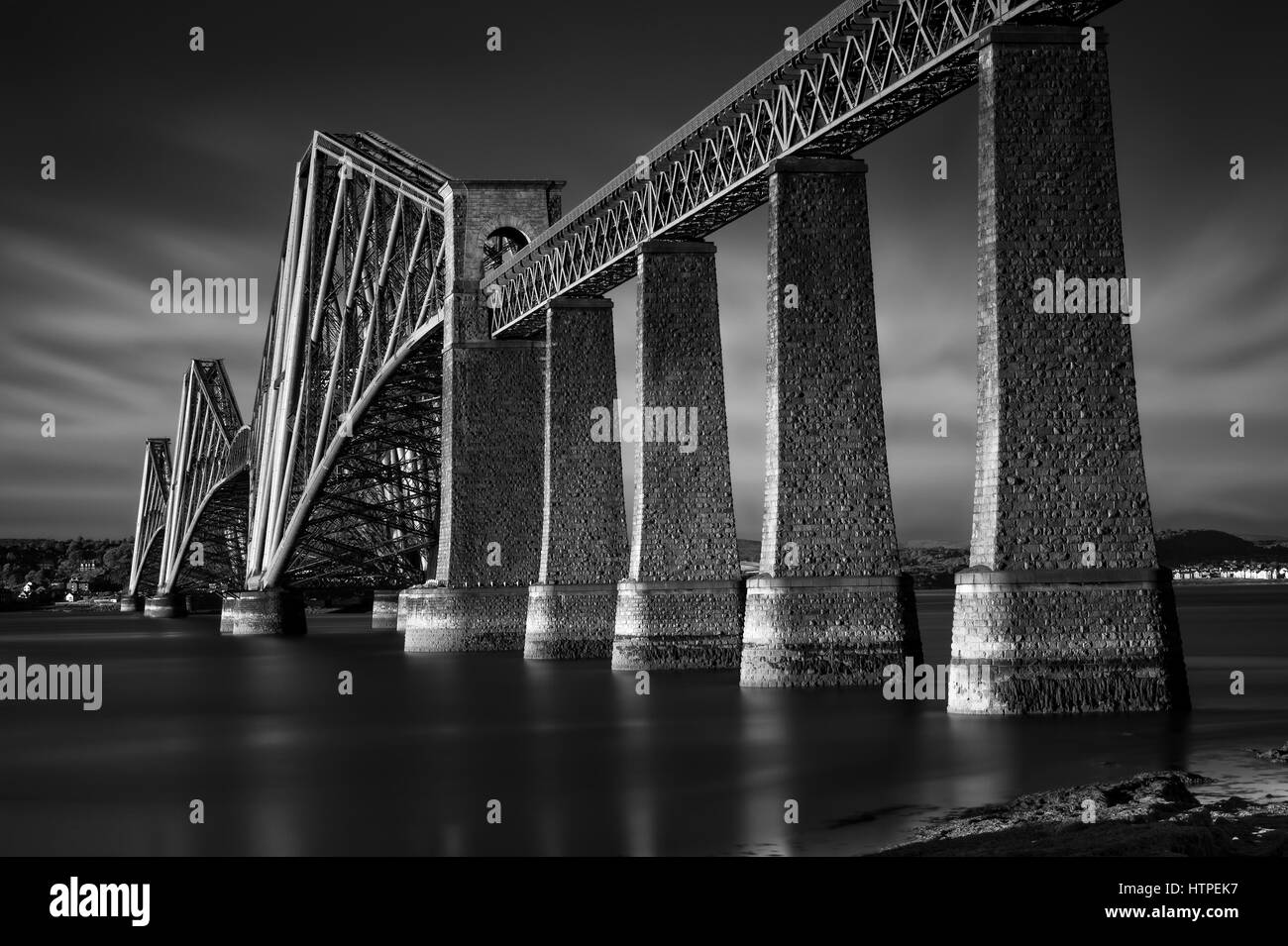 Black & white image of Firth of Forth Rail Bridge in South Queensferry, Edinburgh, Scotland - Stock Image