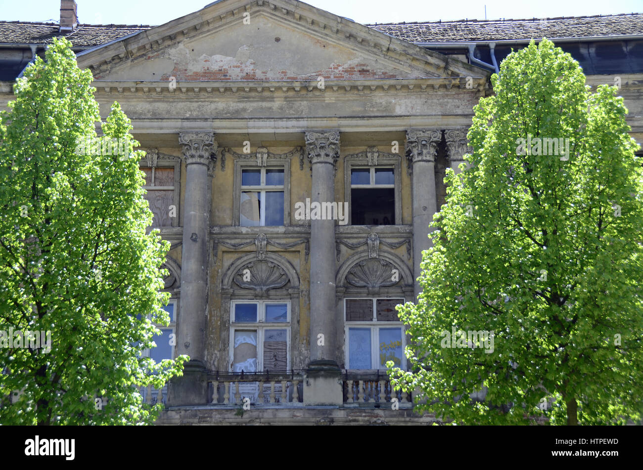 Historical house before reconstruction in the city of Potsdam 'Brockessches Palais' - Stock Image