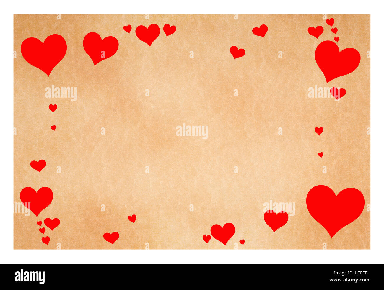 greeting card with hearts isolated on white - Stock Image