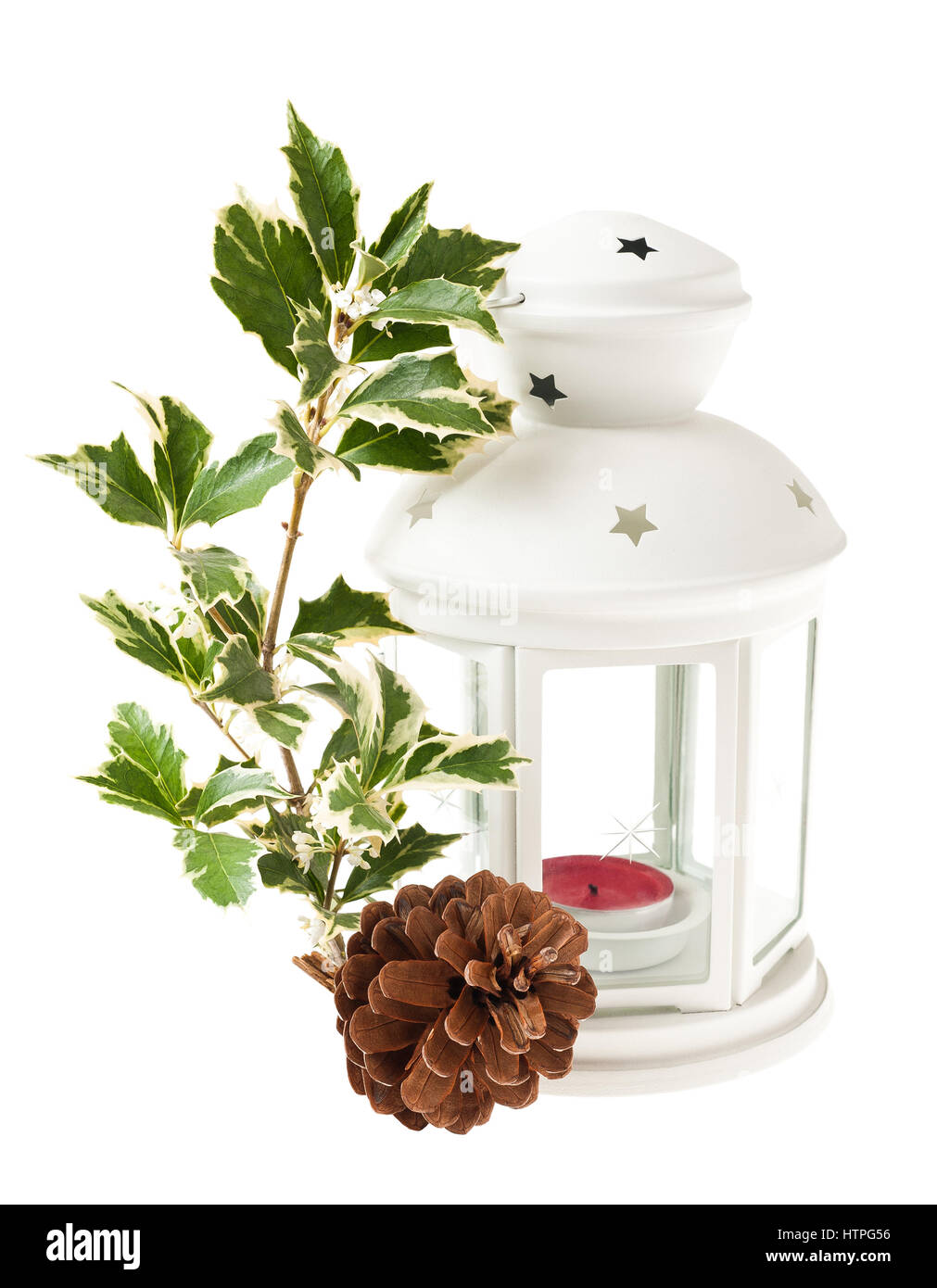 christmas lantern with pine cone and holly - Stock Image