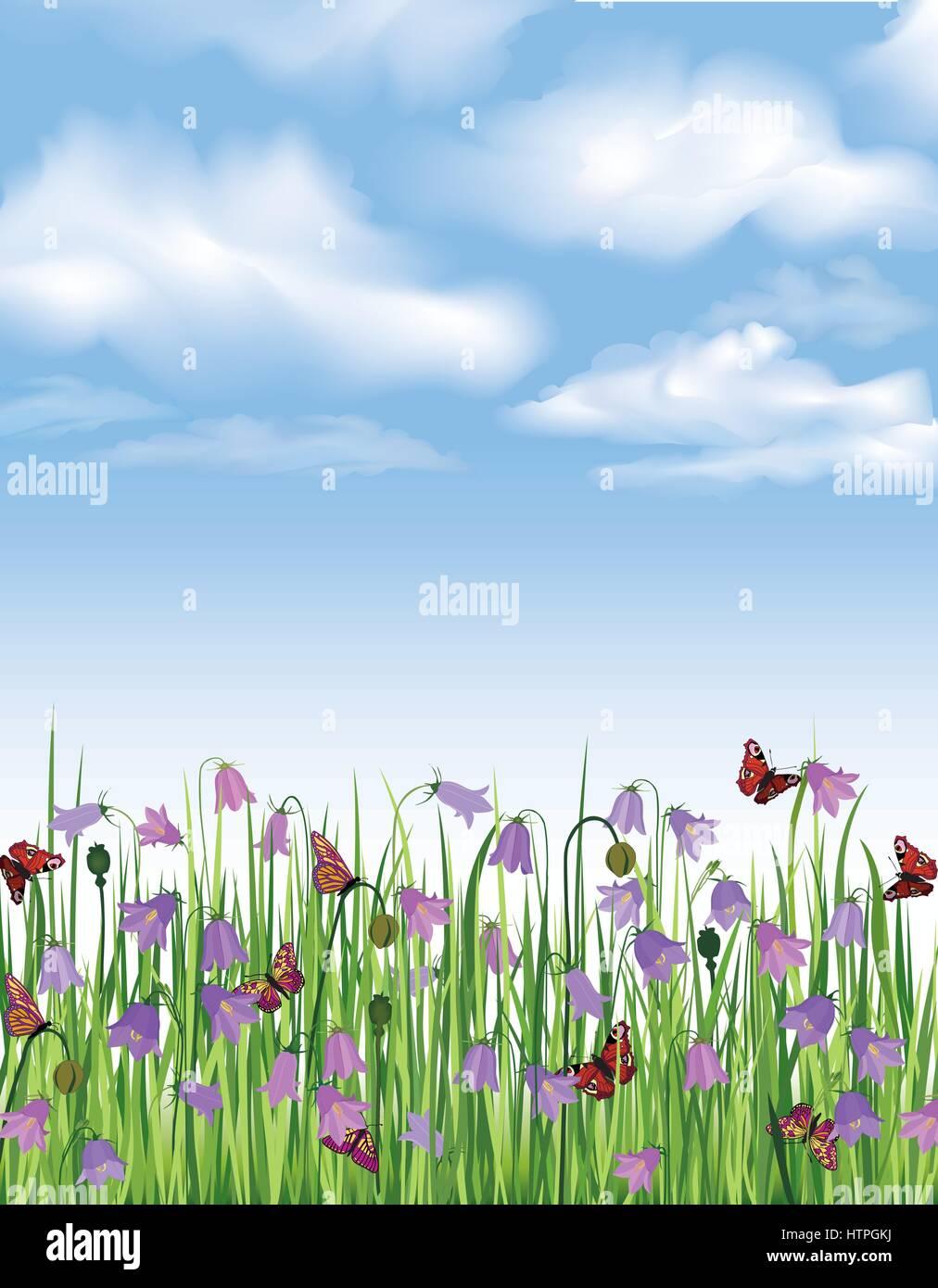 Floral landscape. Flower background. Flourish garden border - Stock Vector