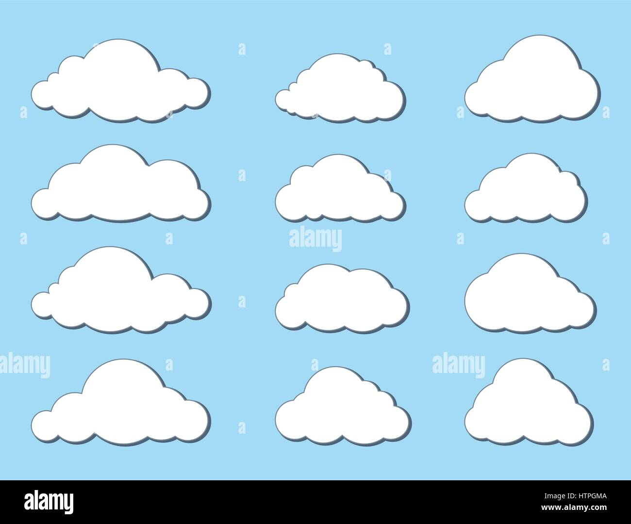 Cloud set. Weather Symbol. Computering technology sign - Stock Image