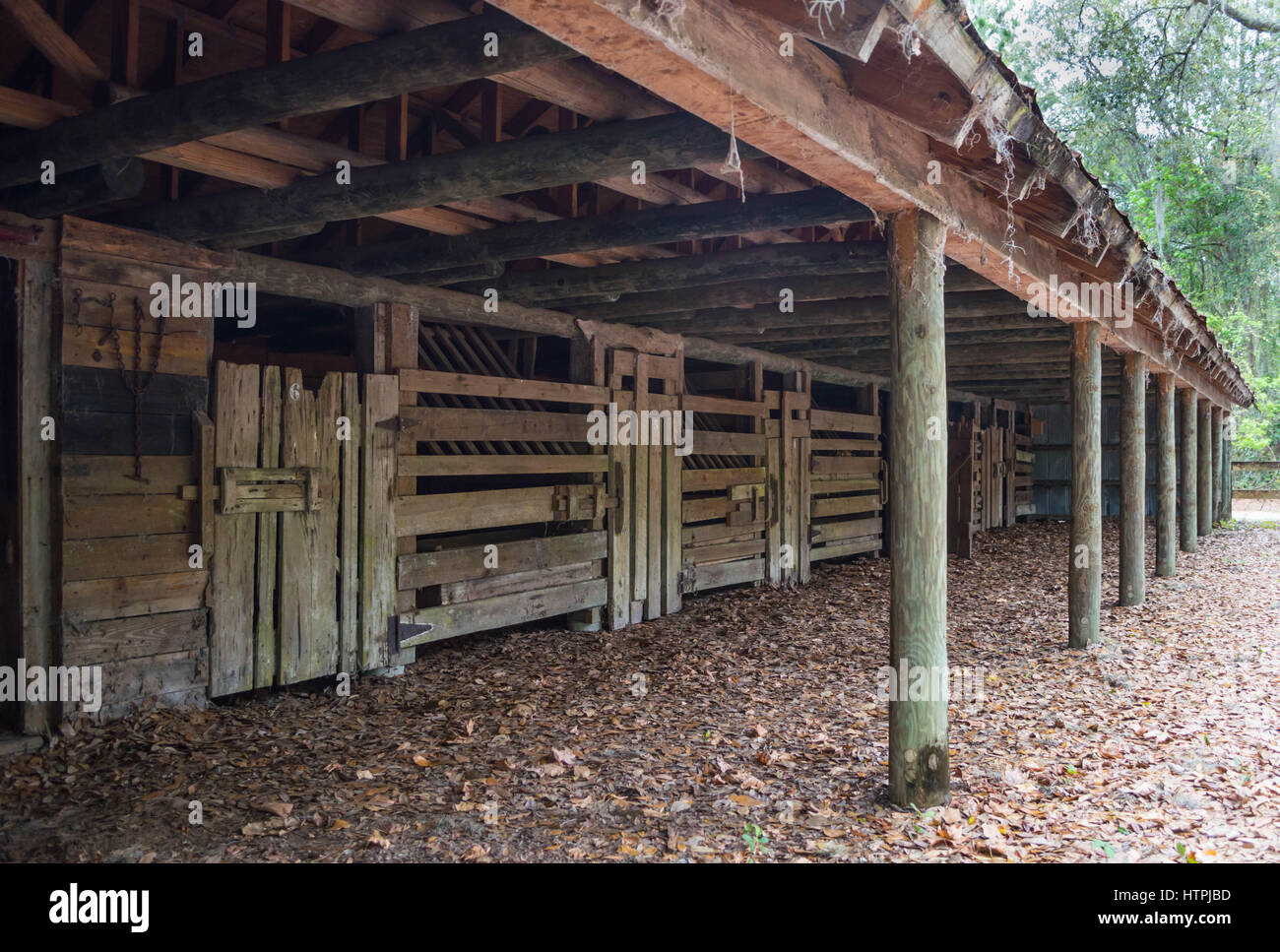 vintage post and beam stable - Stock Image