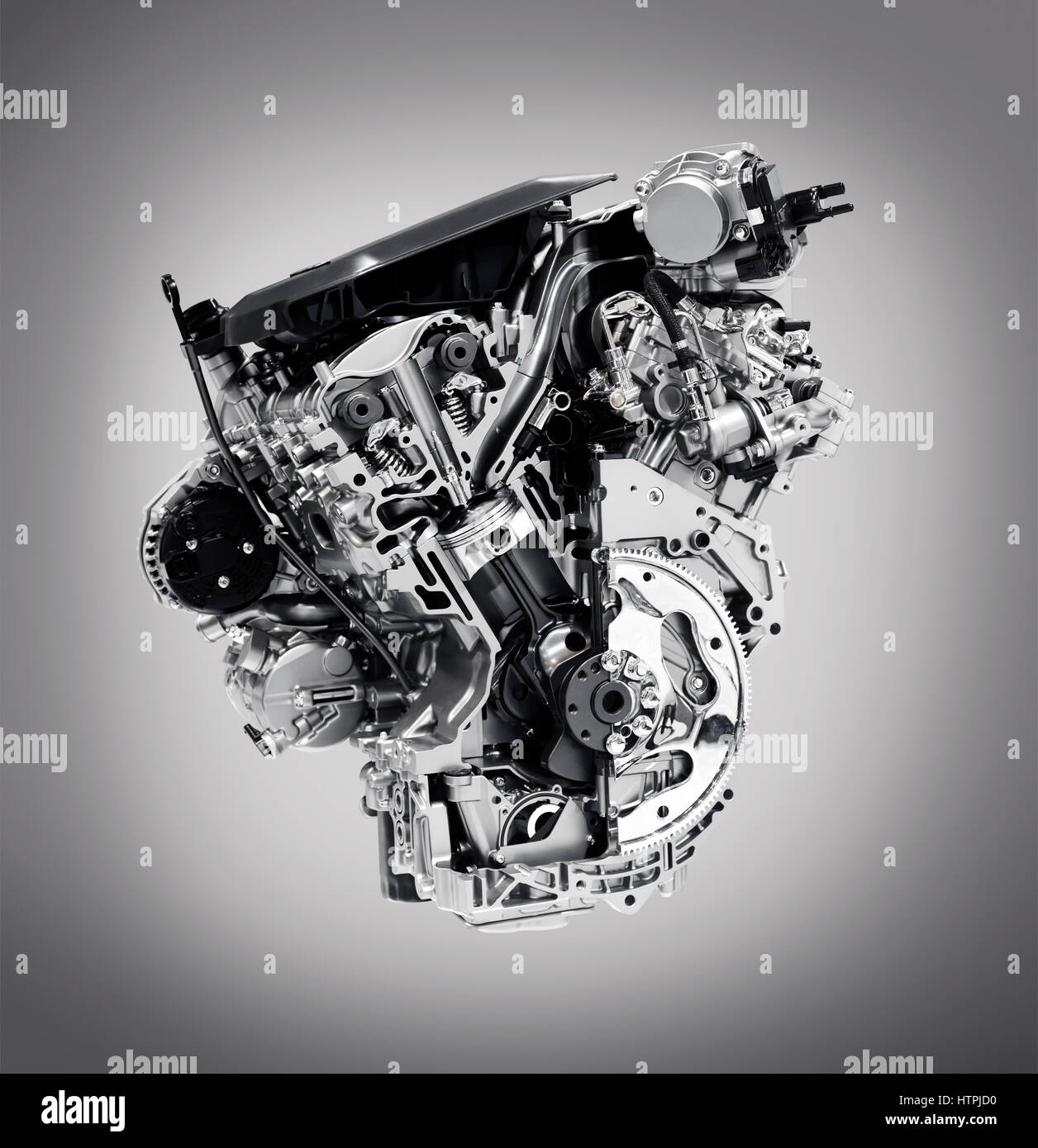 Cross section of 2017 Buick Lacrosse 3.6L V6 VVT DI 310HP car engine showing the cylinder, piston and valves isolated - Stock Image