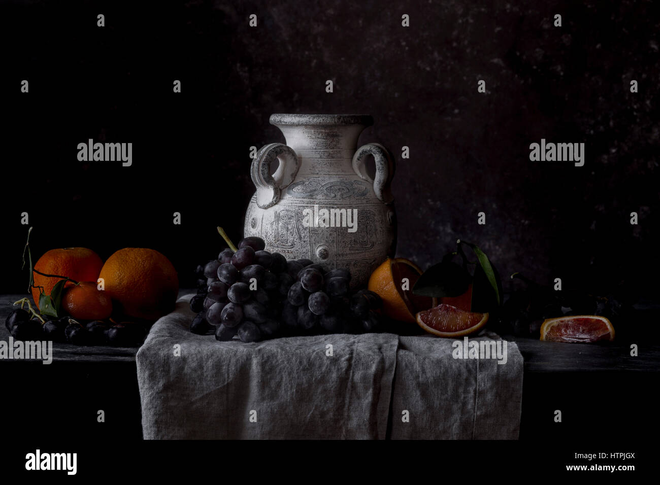 Fruit still life in the style of old masters paintings - Stock Image