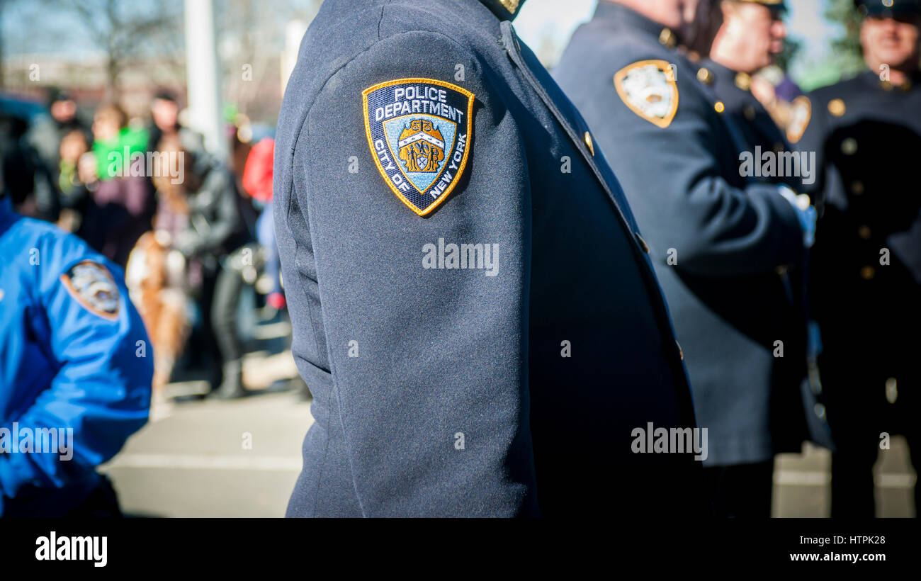 An NYPD patch on an officer's dress uniform in New York on Sunday, March 5, 2017. (© Richard B. Levine) - Stock Image