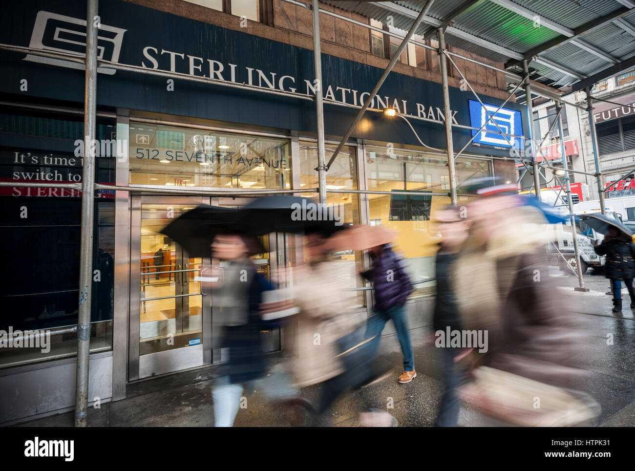 A Manhattan branch of Sterling Bancorp's Sterling National Bank in New York on Tuesday, March 7, 2017.  Sterling - Stock Image