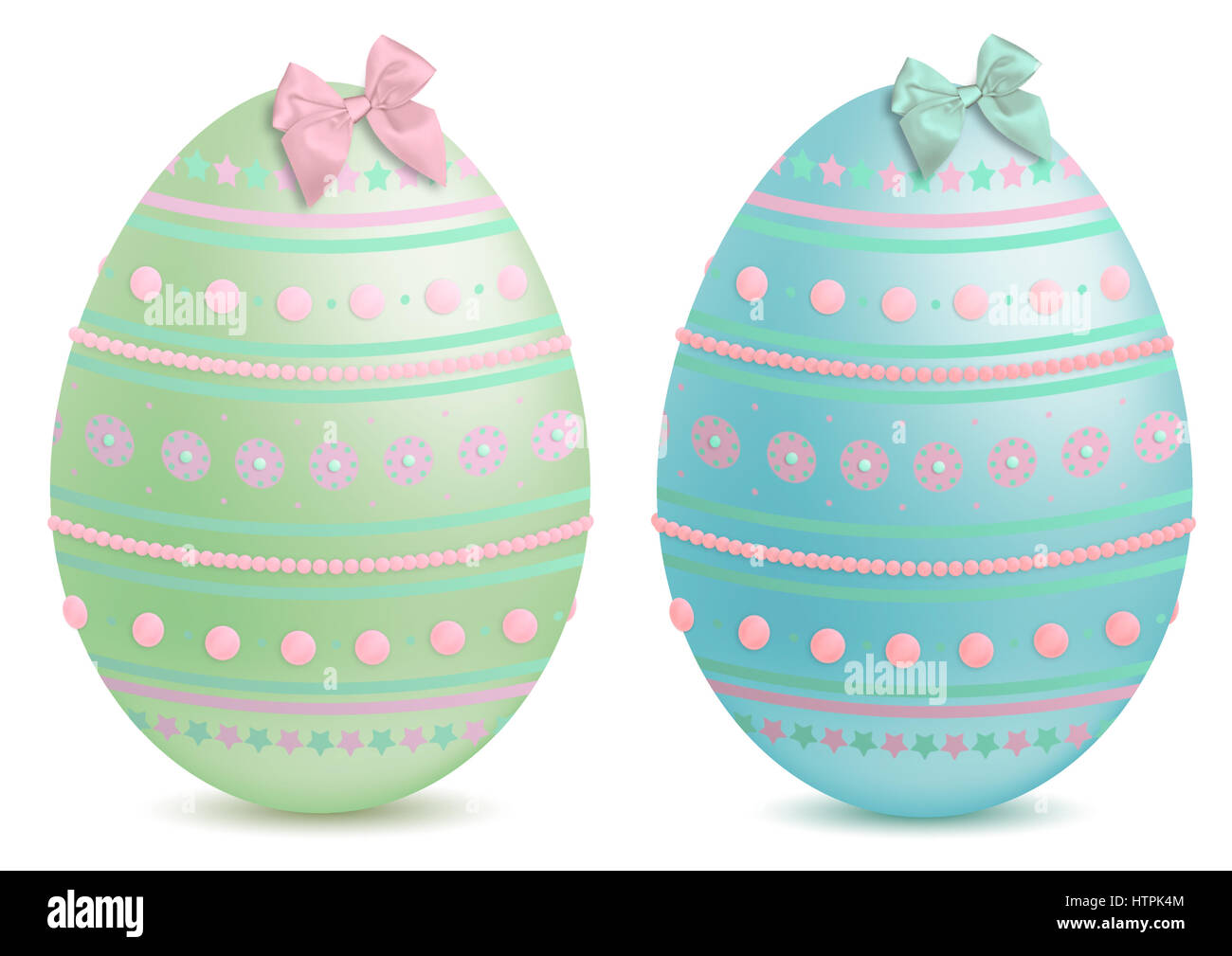 beautiful pastel painted and decorated, illustrated  easter eggs, isolated on white background Stock Photo