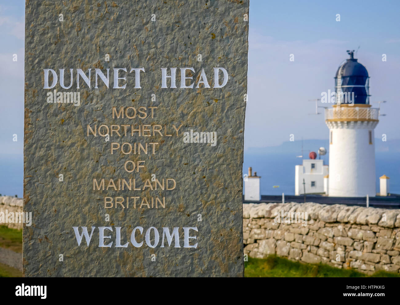 Welcome sign, Dunnet Head, most Northerly point of mainland Britain, Scotland, UK - Stock Image