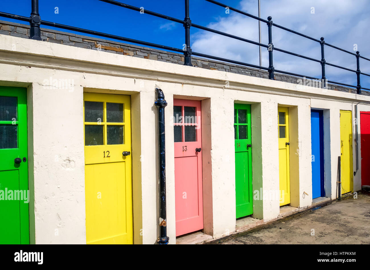 Colourful doors in the harbour of North Berwick East Lothian Scotland UK & Colourful doors in the harbour of North Berwick East Lothian Stock ...
