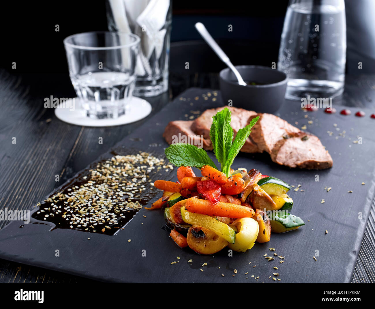 Simple Steak with Roasted Vegetables, ahead shot - Stock Image