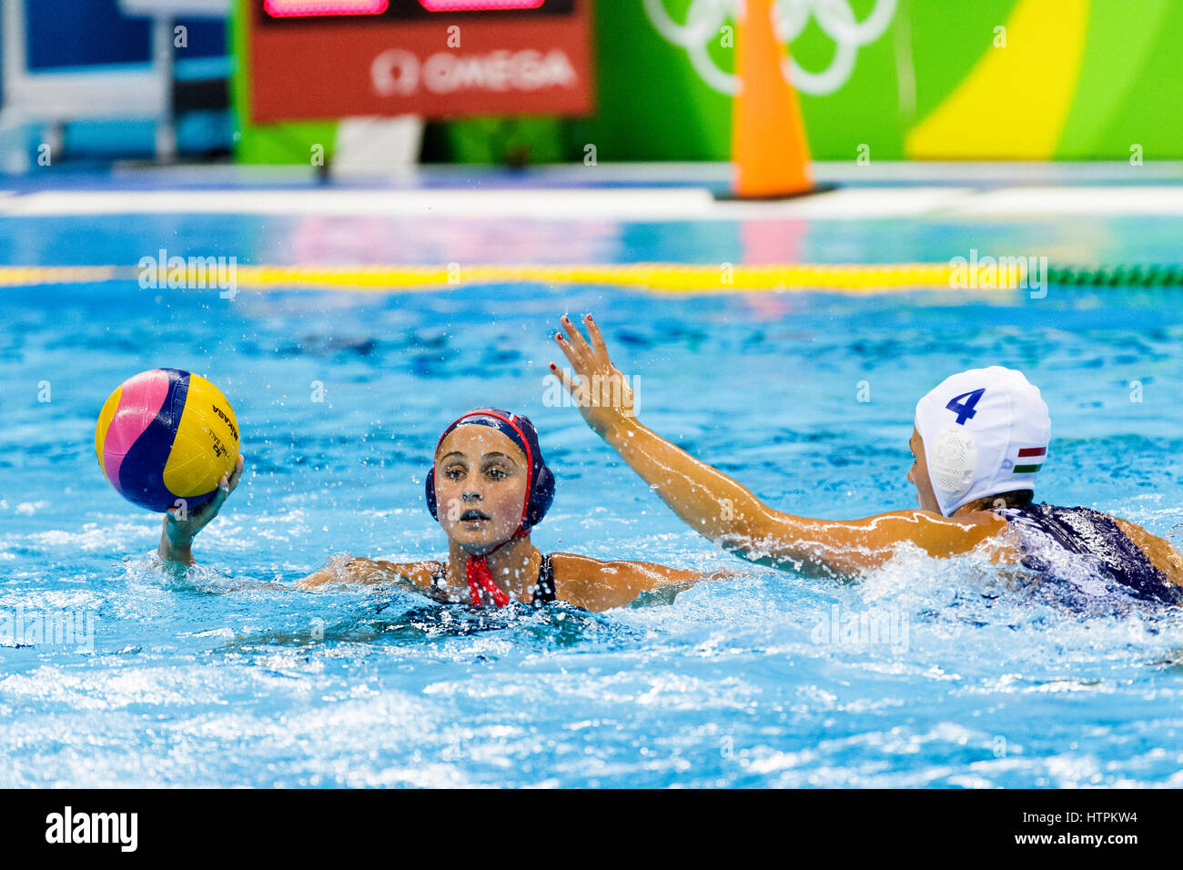 Rio de Janeiro, Brazil. 18 August 2016 Maddie Musselman (USA) competes in the women's water polo match vs. Hungary - Stock Image