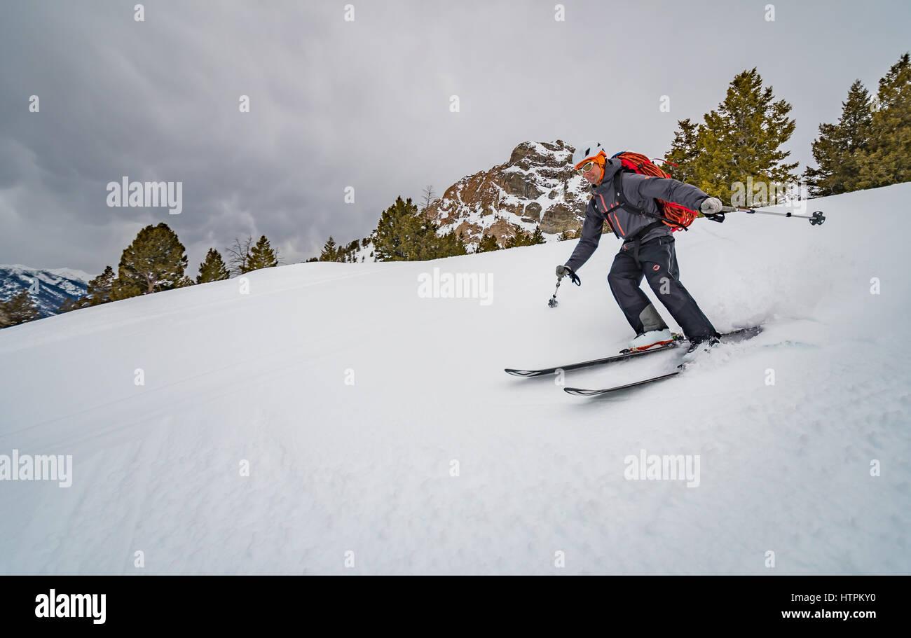 Shane Nelson skiing to Silver Peak near Sun Valley Idaho - Stock Image