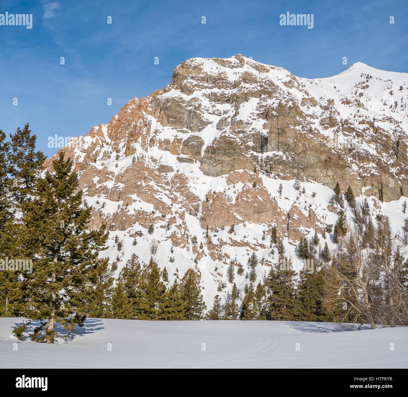 Silver Peak Ice climbs near Sun Valley Idaho - Stock Image
