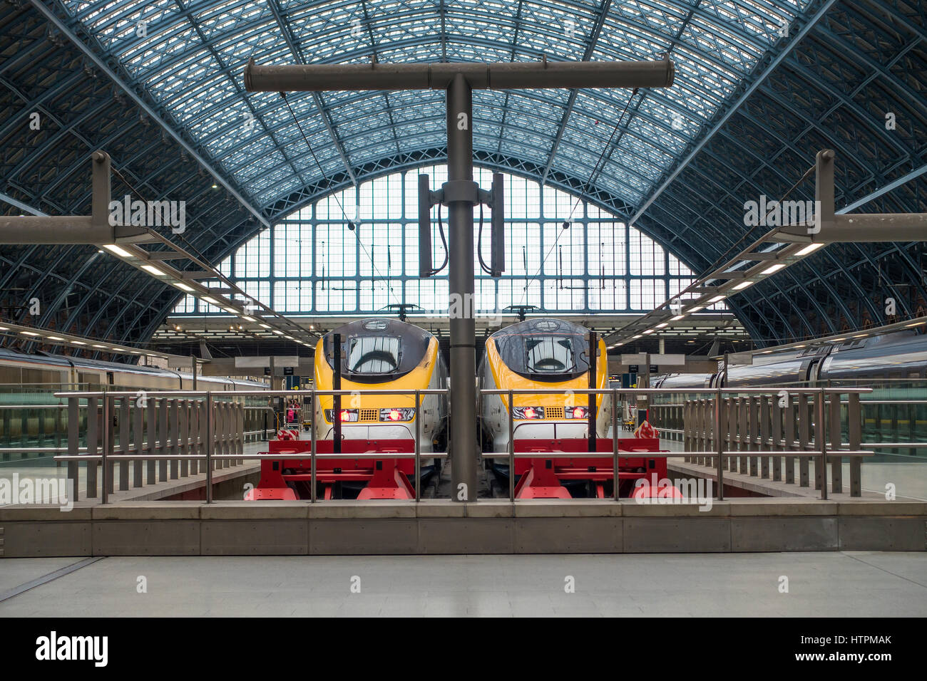 Eurostar Trains ready to depart from St Pancras Station London England - Stock Image