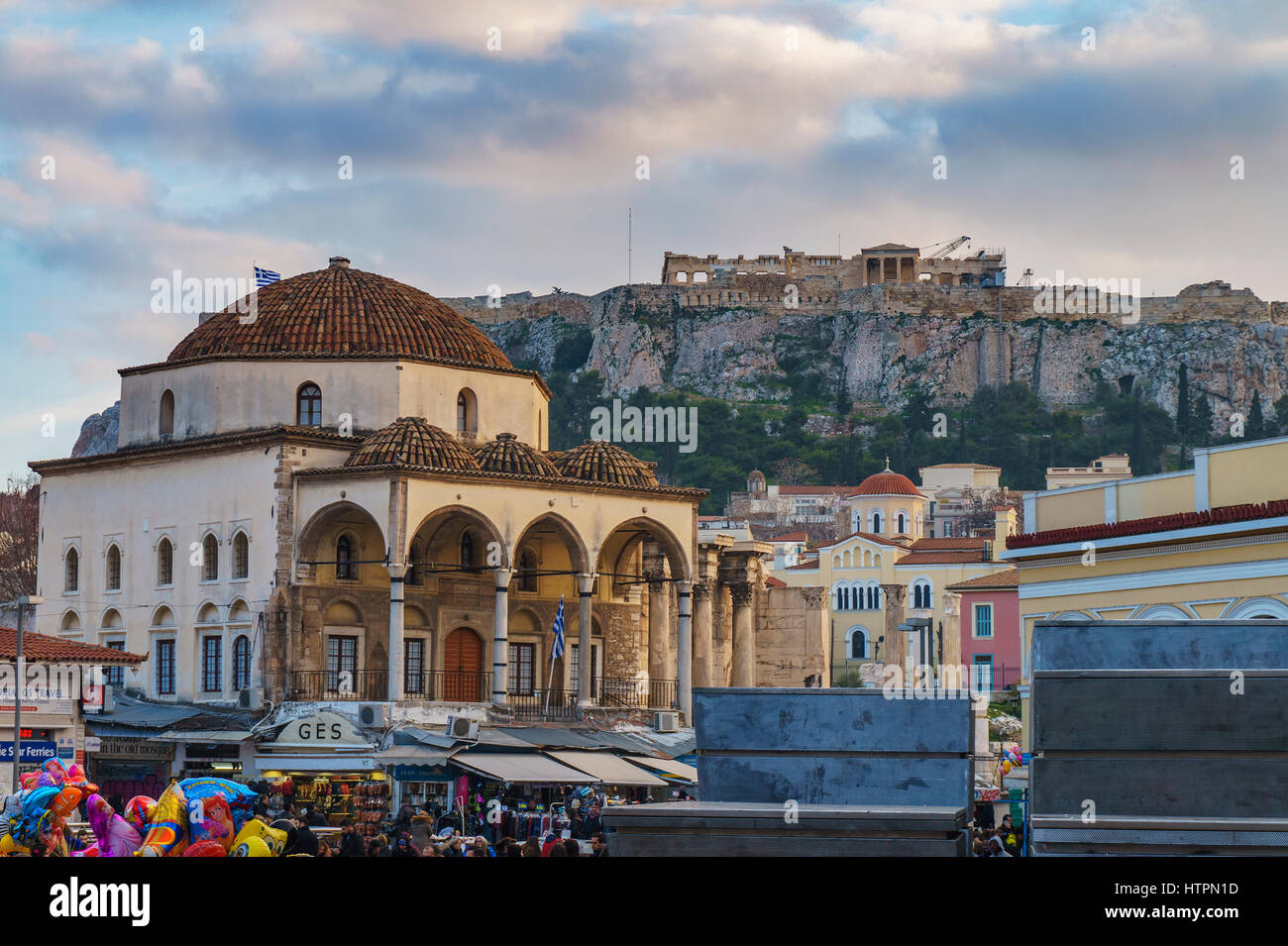 Monastiraki square. Located near Ermou Street, this is a flea market in the old city. Athens, Attica, Greece. - Stock Image